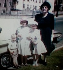 Grandma Samsel and Kids - Easter 1962 (2)
