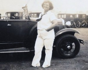 Grandma Carrie Metzger (about 1930) at Cabrillo Beach, California.
